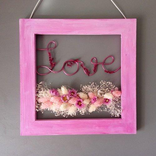 Cadre fleurs sechees roses  prénom ou mot