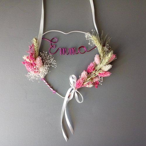 Couronne fleurs séchées roses  prenom