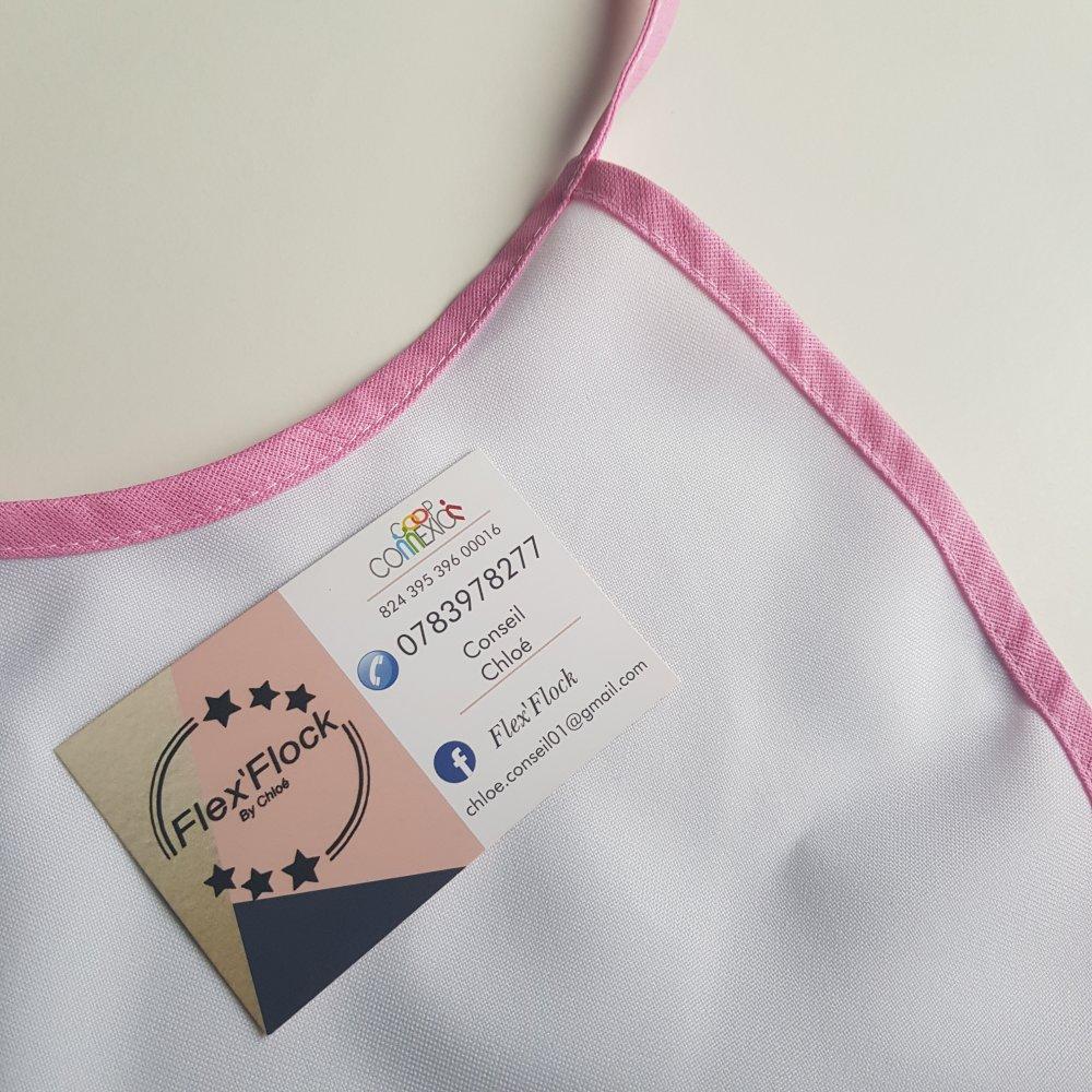 Bavoir bébé, bordure rose personnalisable ‼