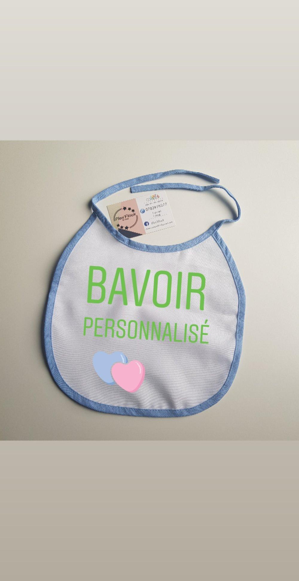 Bavoir bébé, bordure bleue à personnaliser ‼