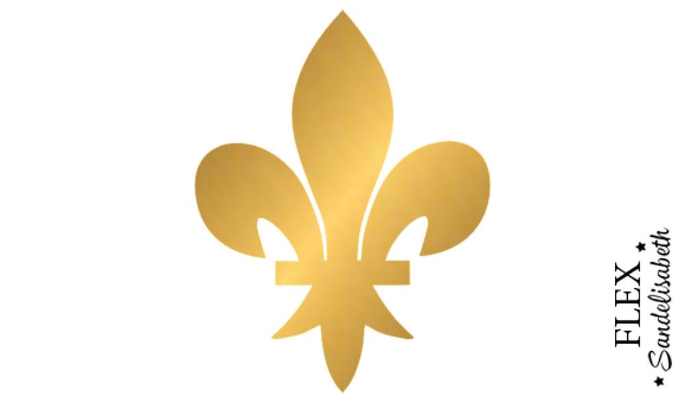 appliqué thermocollant fleur lys roi royal flex doré