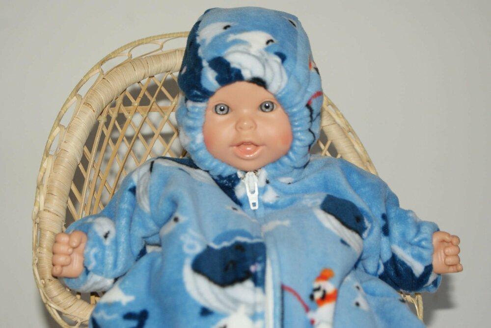 vêtement pour poupée de 30 cm nid d'ange bleu  imprimé baleines