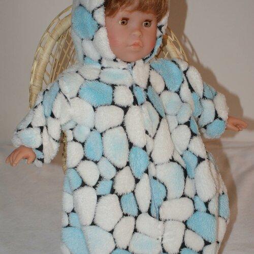 Vêtement pour poupée 42 cm nid d'ange   bleu et blanc imprimé cailloux