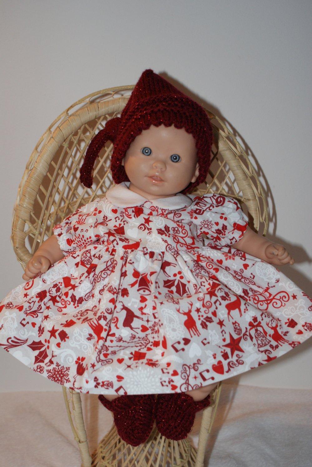 vêtement pour poupon 30 cm robe rouge et bordeaux theme Noel avec bonnet lutin rouge