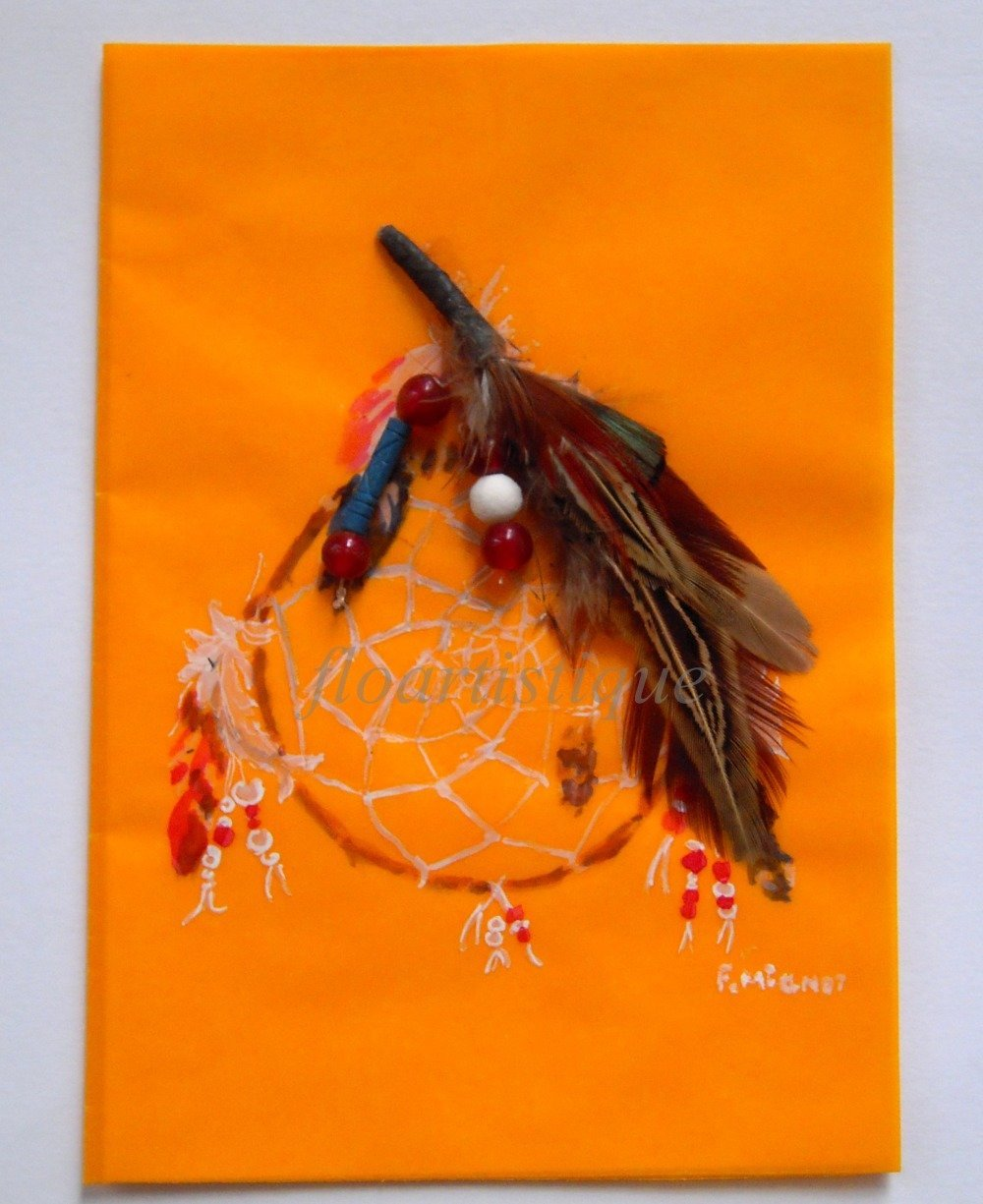 Carte aquarelle, attrape-rêve, plumes et perles