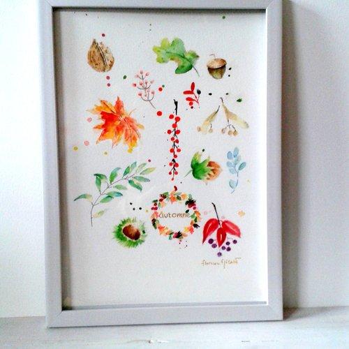 Aquarelle originale -  végétaux d'automne - format 21 x 29,7 cm