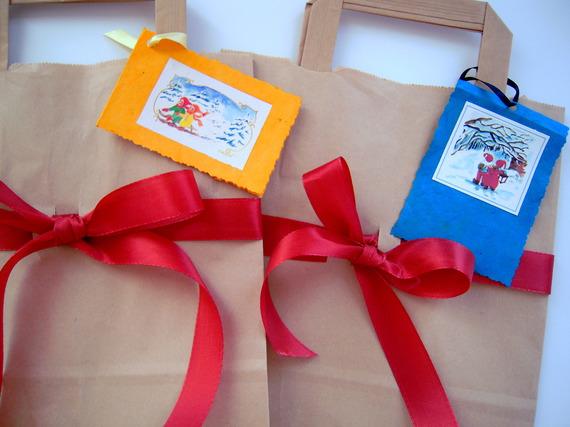 Pochettes kraft décorées pour cadeaux Noël - 28 x 22 cm