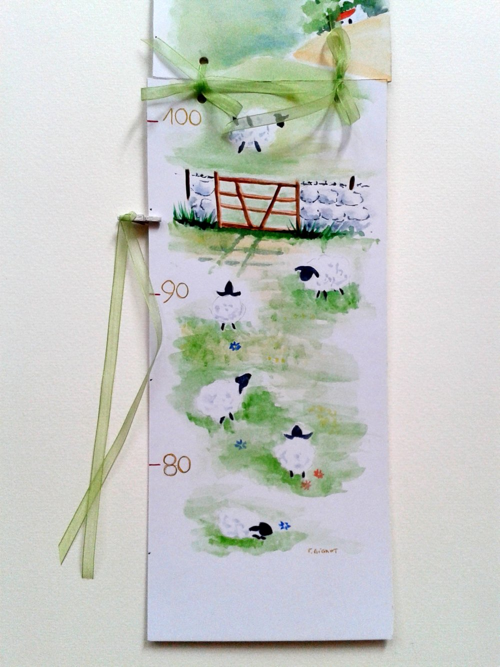 Toise mesure enfant - illustration aquarelle petits moutons