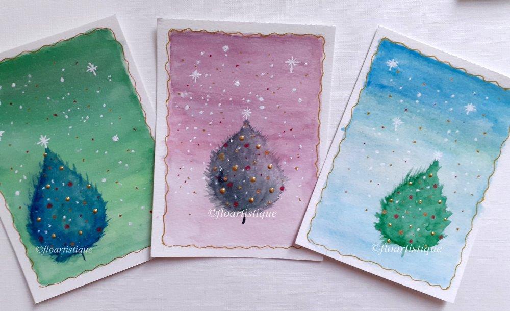 Cartes originales aquarelle Noël ou Voeux - Lot de 3 cartes