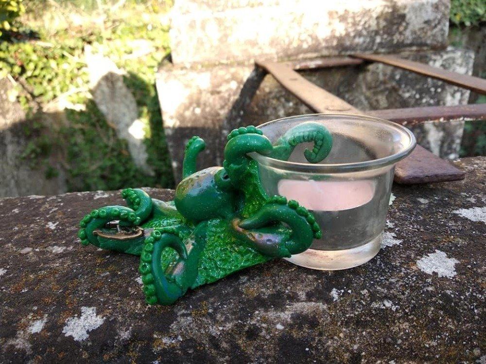Bougeoir pieuvre verte