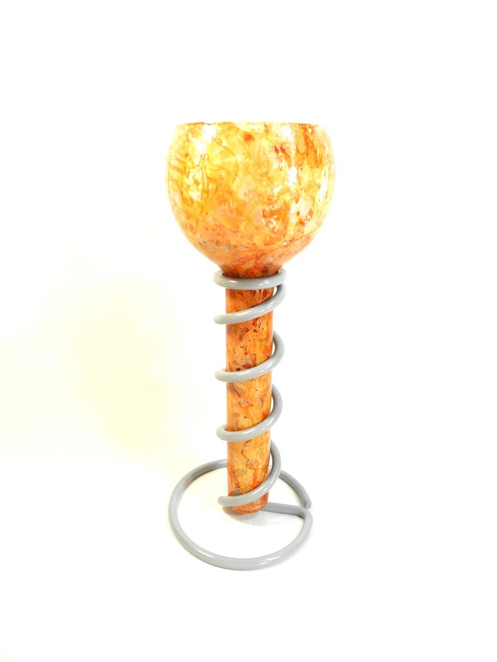 """Bougeoir """" Spirale Orange et gris """", modèle unique, ferronnerie grise, bougie blanche, réalisé à la main"""