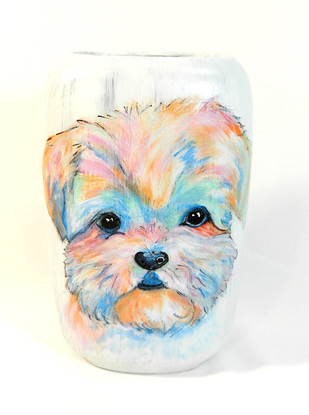 """Vase """" Petit chien coloré """", en céramique, peint à la main, modèle unique"""