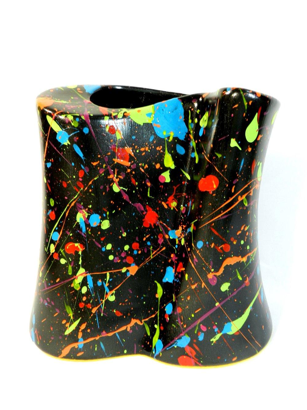 """Grand vase """" Mille éclats """", forme design en céramique, noir, multicolore, modèle unique, peint à la main"""