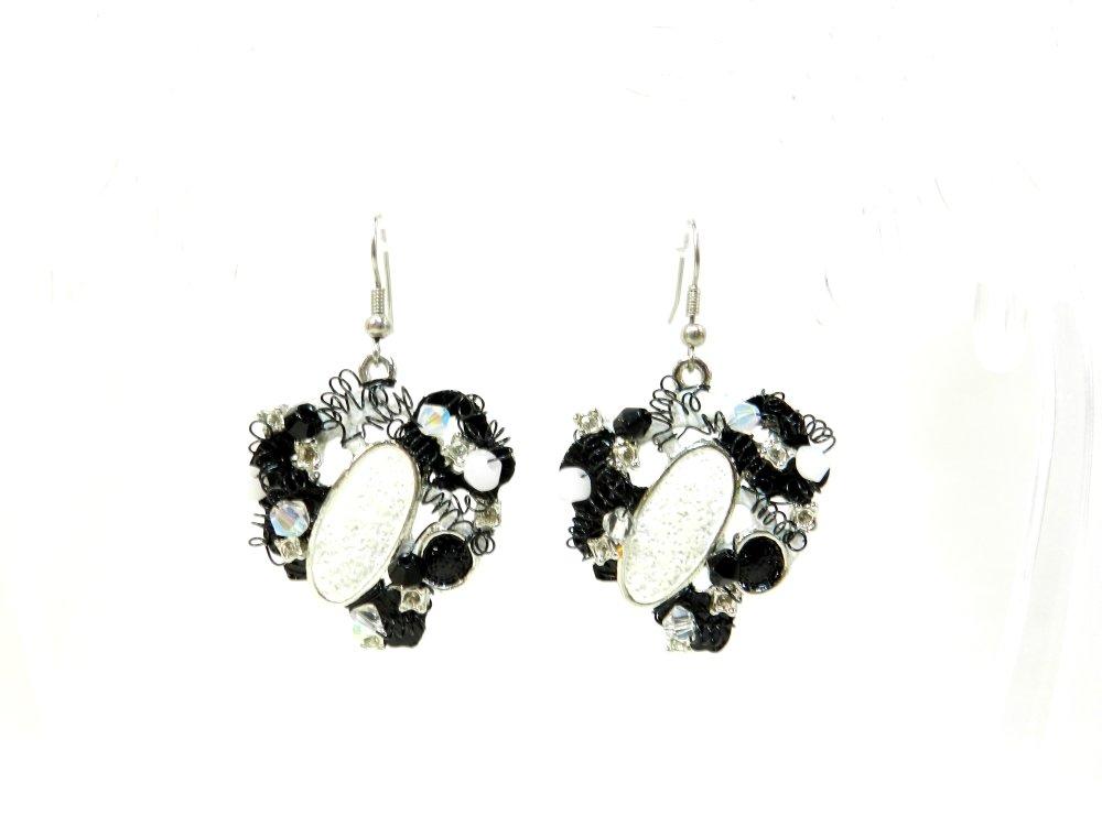 """Boucles d'oreilles de créateur """"Basma """", monture crochet en argent 925, noir et blanc, réalisées à la main"""