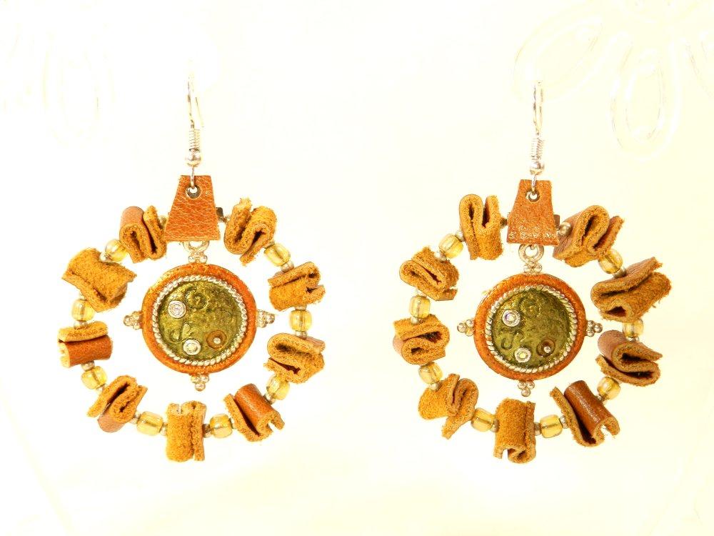 """Boucles d'oreilles de créateur """" Cuir """", monture crochet en argent 925, style créole"""