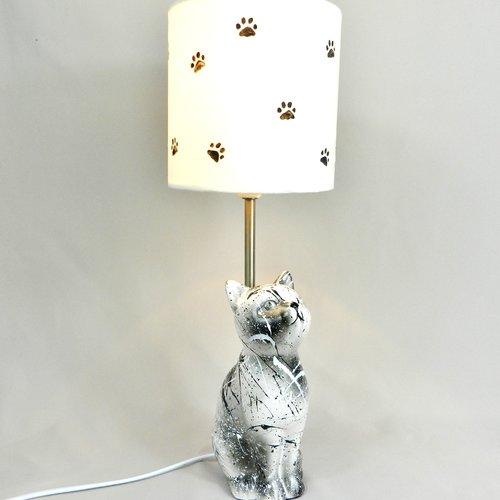 """Lampe de créateur """" chat """", modèle unique, réalisée à la main, noir et blanc, modern et originale"""