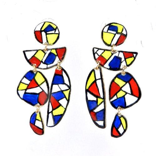 """Boucles d'oreilles de créateur """" style mondrian """", monture tige en métal doré, modèle unique, réalisées à"""