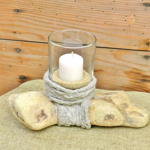 """Bougeoir """" nature et ciment """", bois flotté, ciment gris, sable fin, modèle unique, réalisé à la main"""