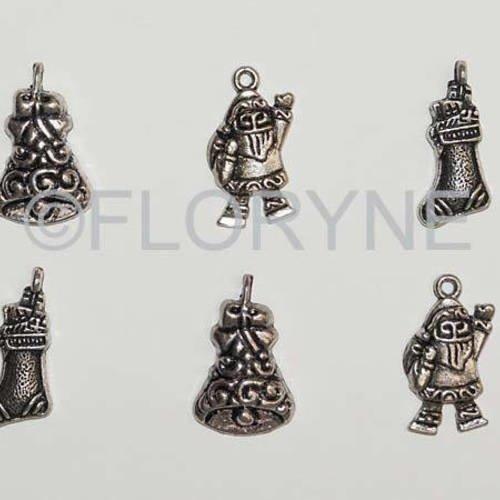 Lot : 6 breloques fêtes de noël en métal argenté