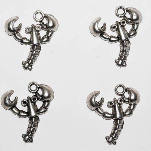 4 breloques pendants crustacés homards en métal argenté