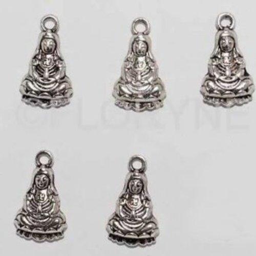 5 breloques pendants bouddha en métal argenté