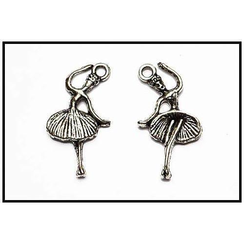 2 breloques pendants danseuses en 2d en métal argenté
