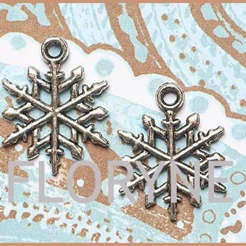 4 breloques pendants : flocons en métal argenté