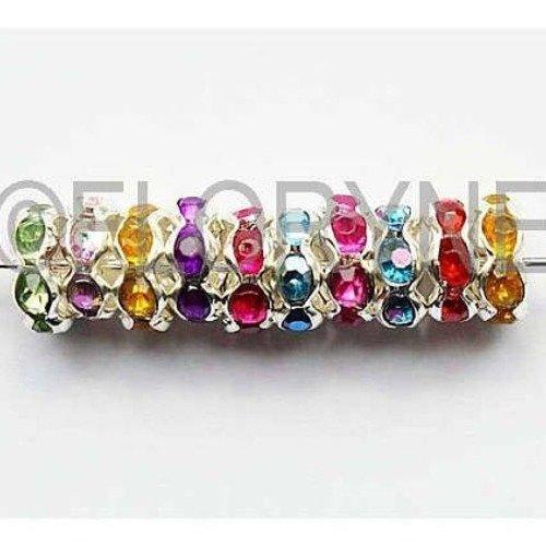 10 perles métal rondelles 8mm avec strass colorés - intercalaires