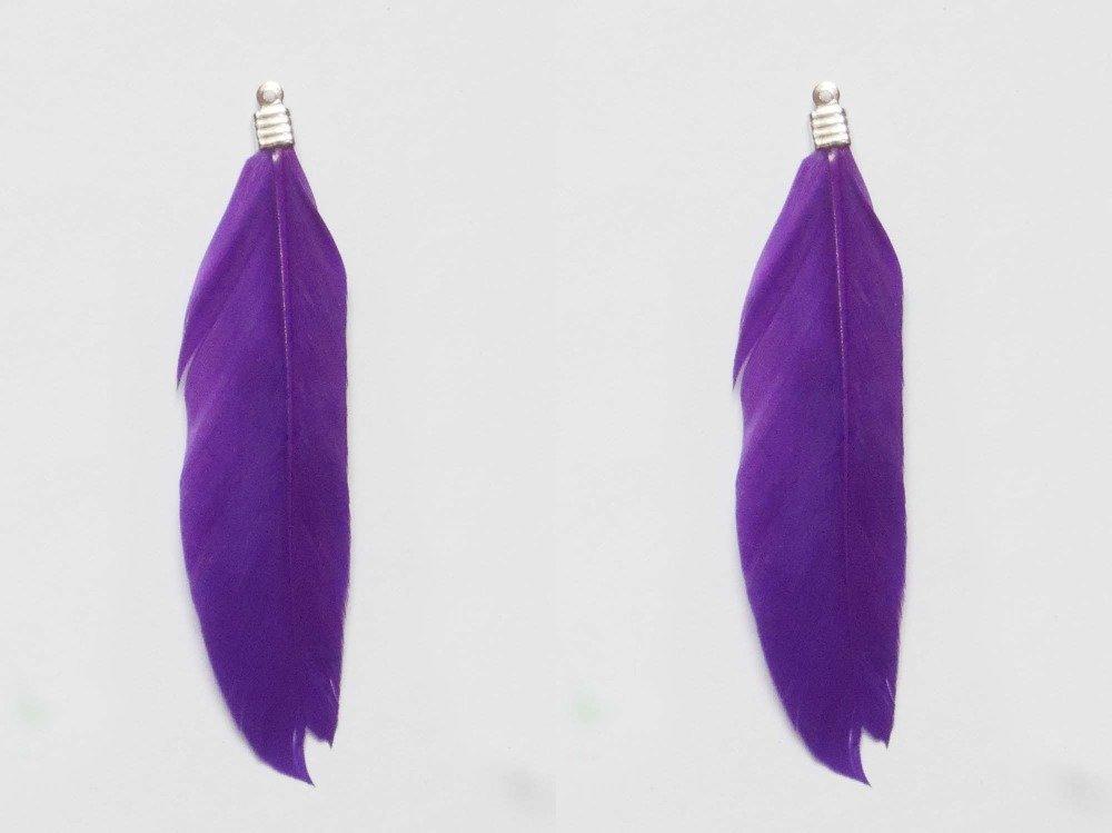 2 Plumes Pendentif 2 x 8 cm Violet