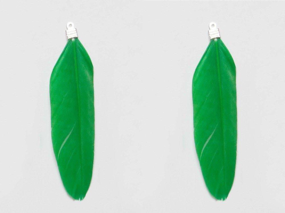 2 Plumes Pendentif 2 x 8 cm Vert