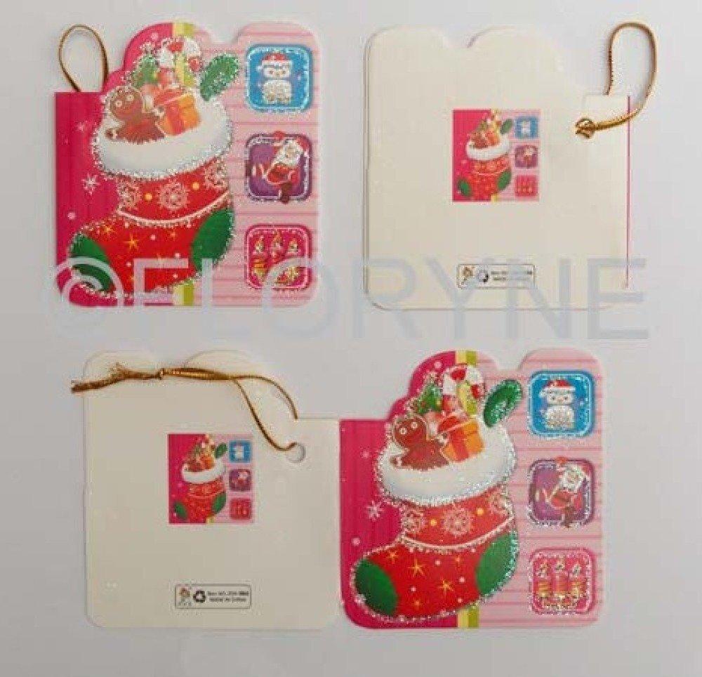 4 Etiquettes Messages Pour cadeaux de Noël : Chaussette de Noël Rouge