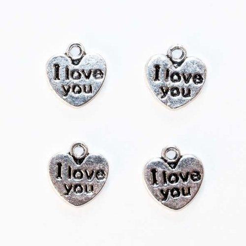 """4 breloques pendants coeur """"i love you"""", métal argenté vieilli"""