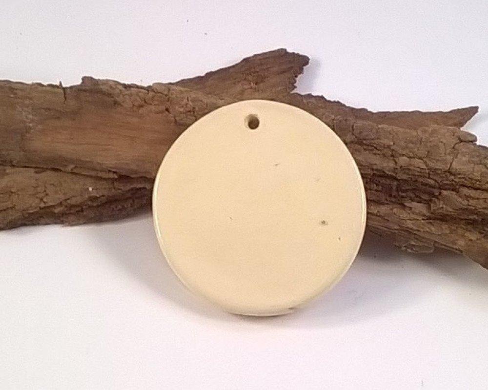 Perle pendentif rond céramique libellules artisanal blanc brun- 39 mm