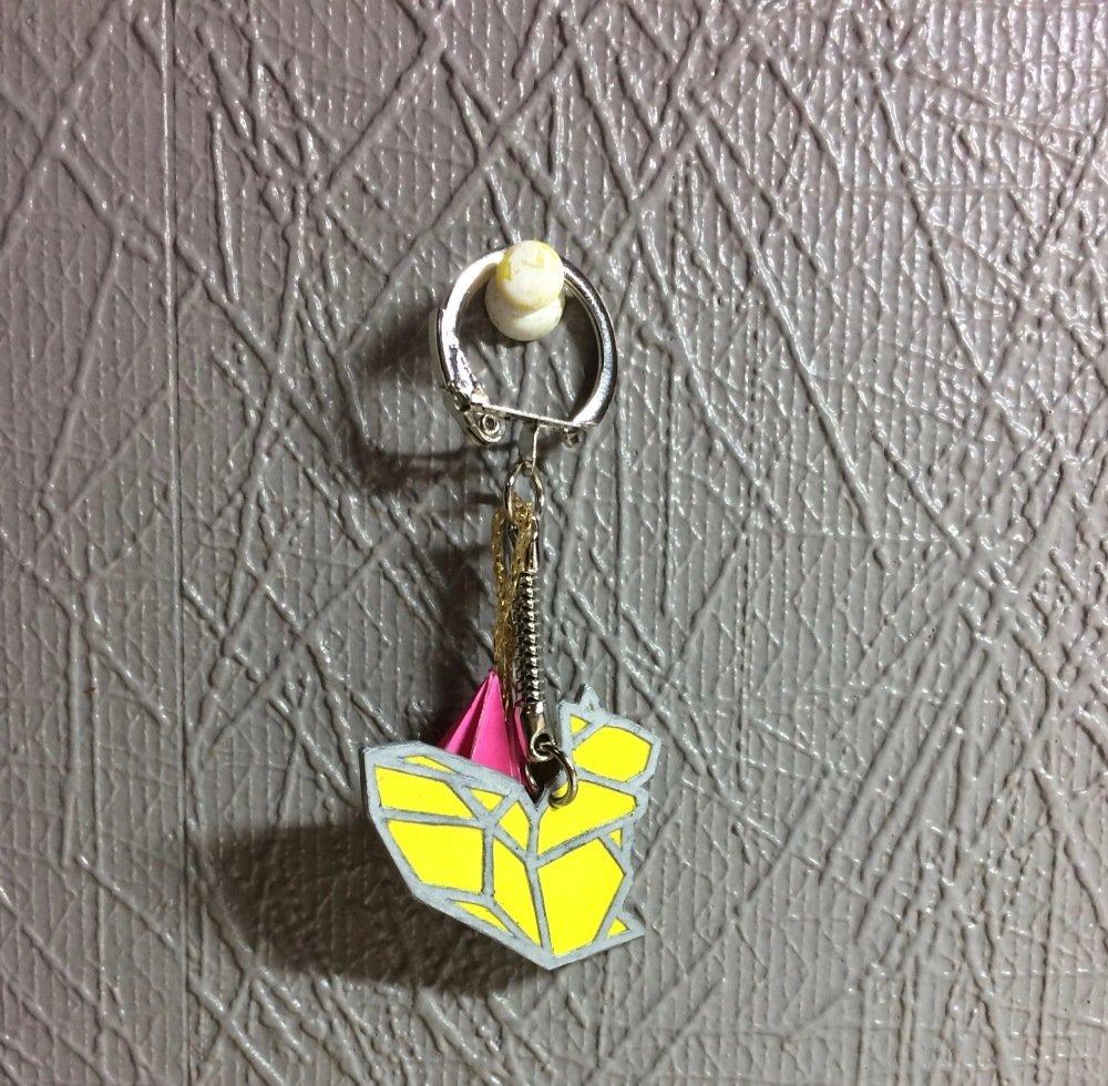 Porte clés en papier composé de deux figurines