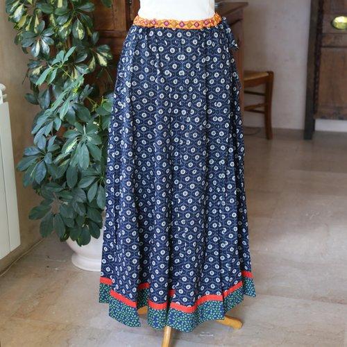 Jupe longue ethnique,style gipsy, bohème, coton imprimé batik,