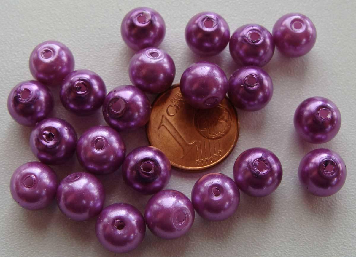 50 perles 8mm verre peint aspect nacré rondes VIOLET