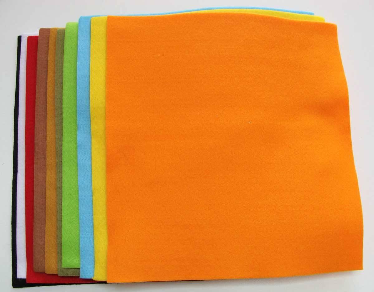 10 Feuilles Feutrine 28x28cm épaisseur 2mm mix couleurs