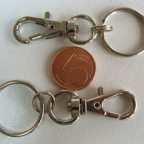 2 FERMOIRS MOUSQUETON 32mm ARGENTE avec anneaux porte-clé 20mm Loisirs créatifs