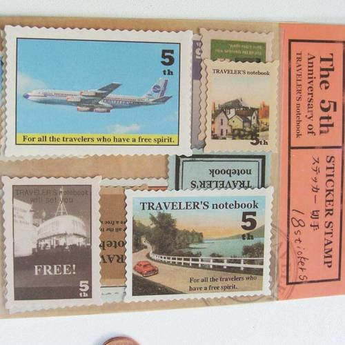 4 planches timbres autocollants stickers thème voyage vacances