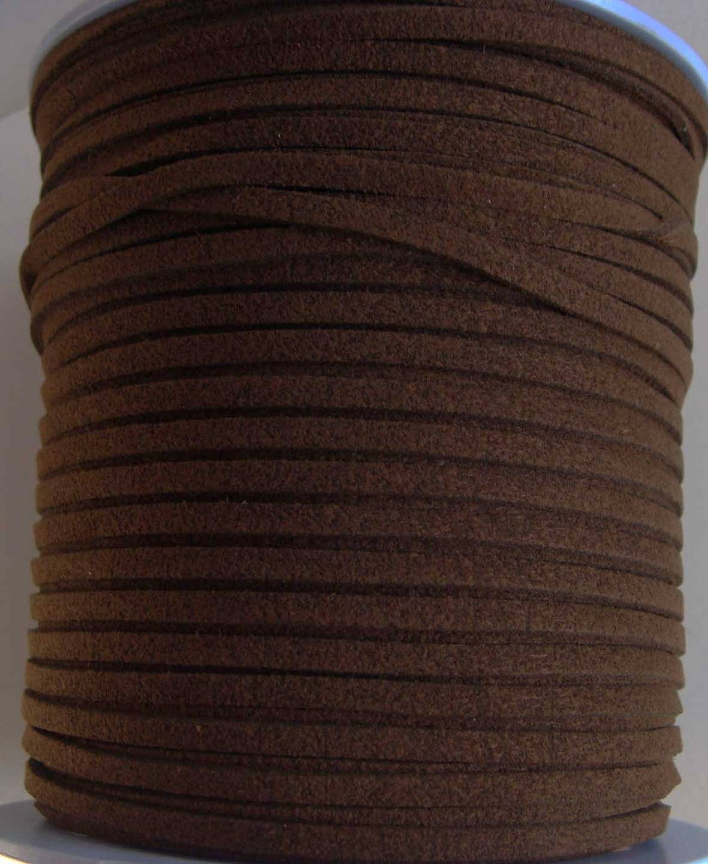 SUEDINE faux daim cordon plat 3mm par 2 mètres MARRON FONCE