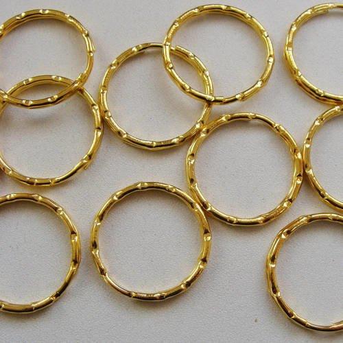 10 anneaux porte-cles métal dore 25mm