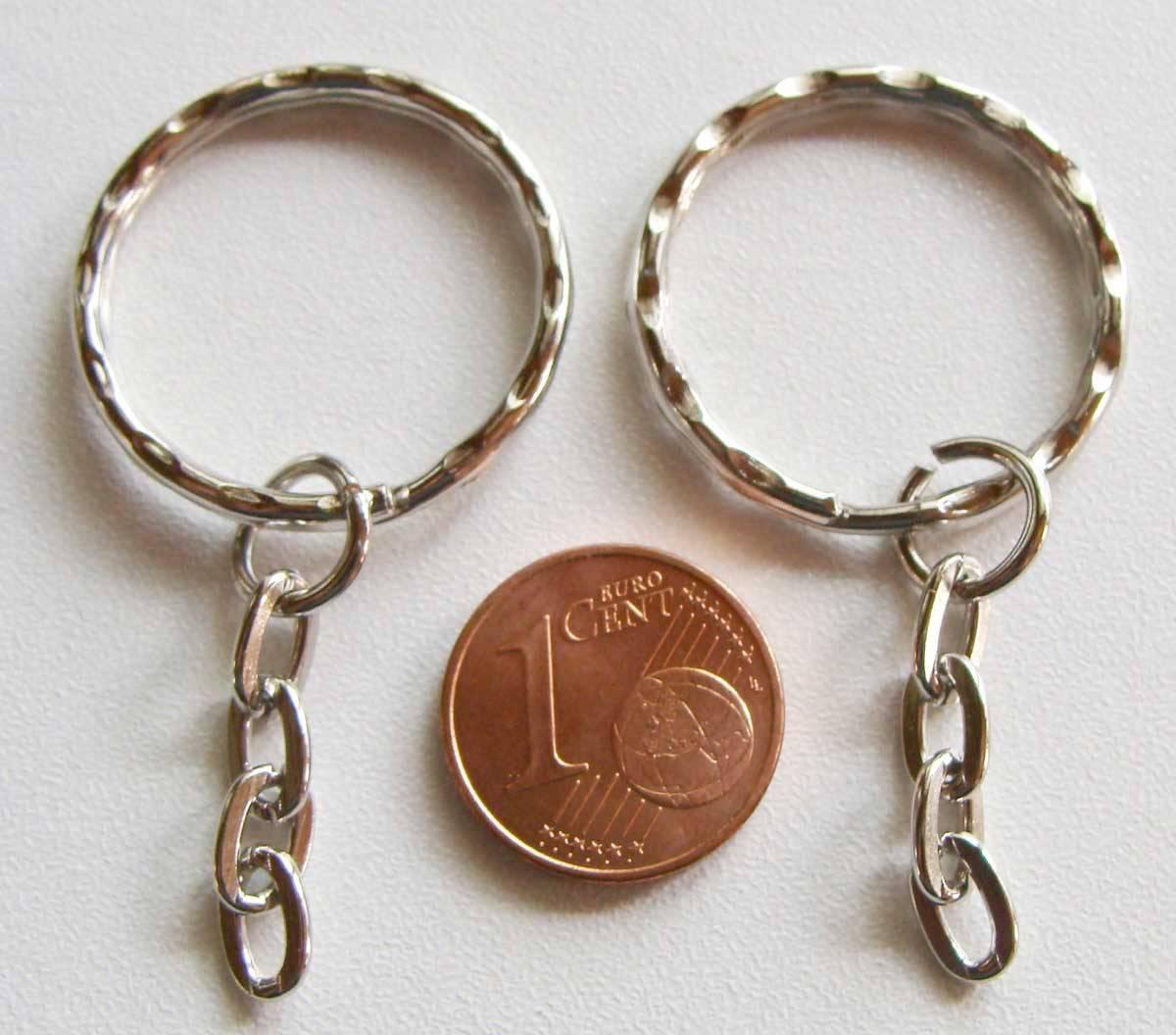 50 ANNEAUX PORTE-CLES métal argenté 25mm + chaine ovale 2,5cm