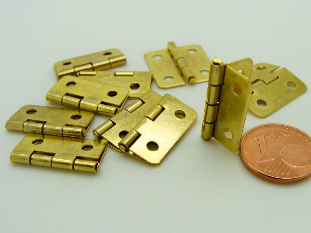 10 CHARNIERES petites 19x16mm métal couleur doré mini-charnière cartonnage boite