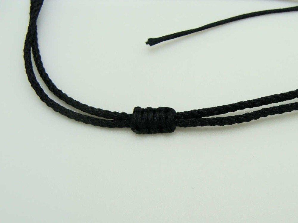 5 colliers noirs fil cordon nylon 1,5mm taille réglable par 1 noeud coulissant Création Bijoux