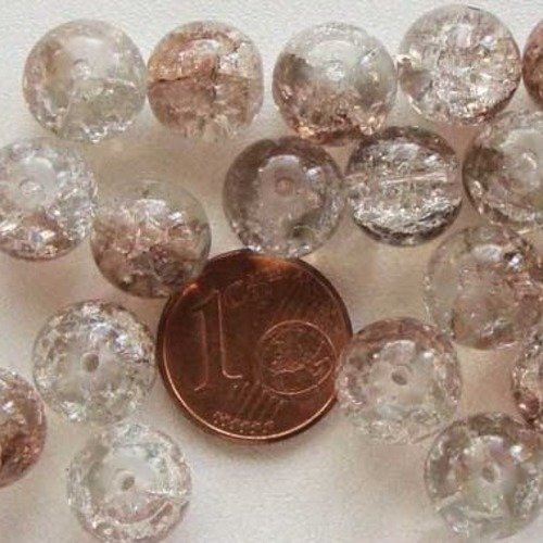 20 perles rondes 10mm verre CRAQUELE jaune miel DIY création bijoux