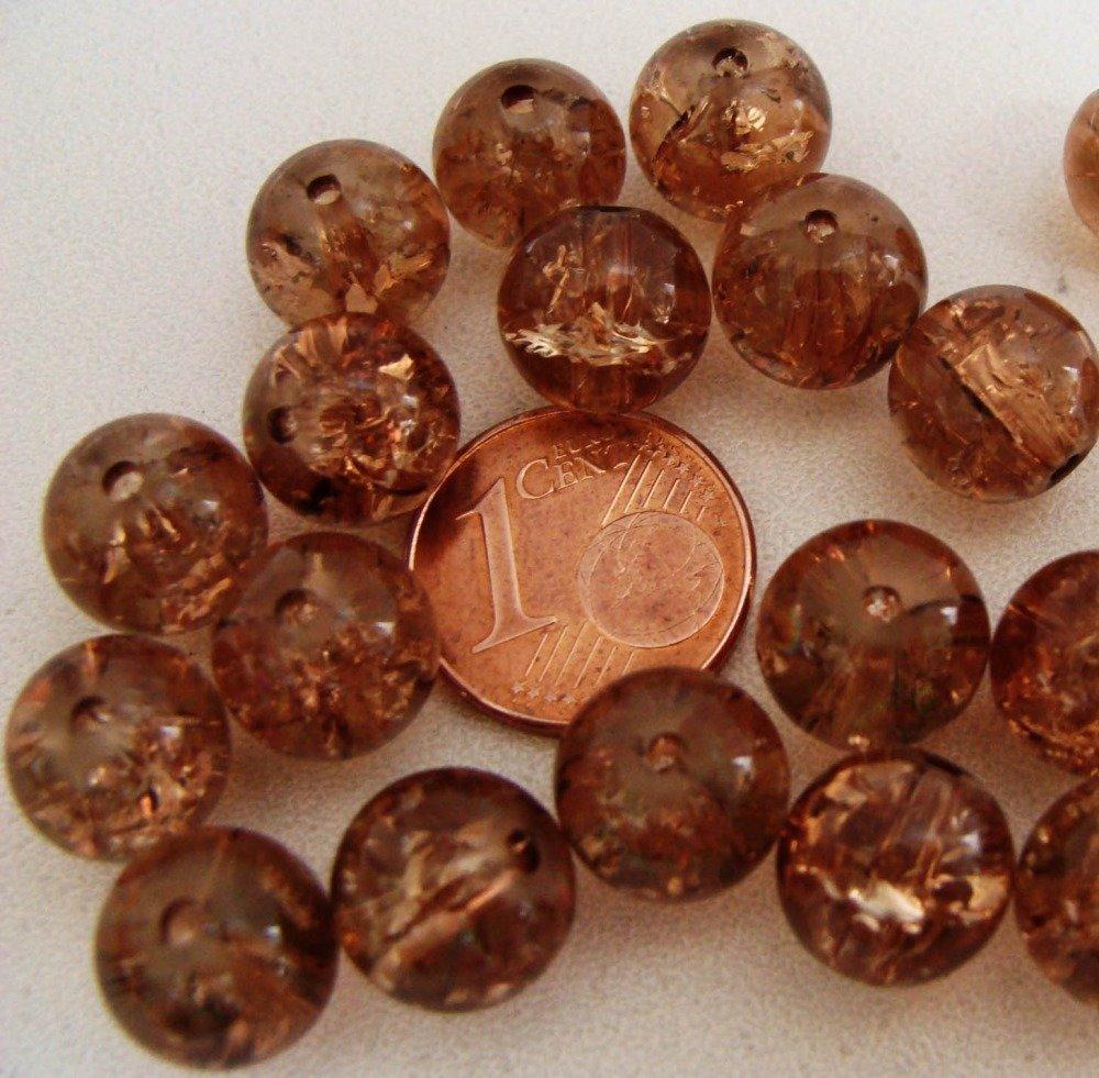 20 perles rondes 10mm verre CRAQUELE Bleu Clair DIY création bijoux