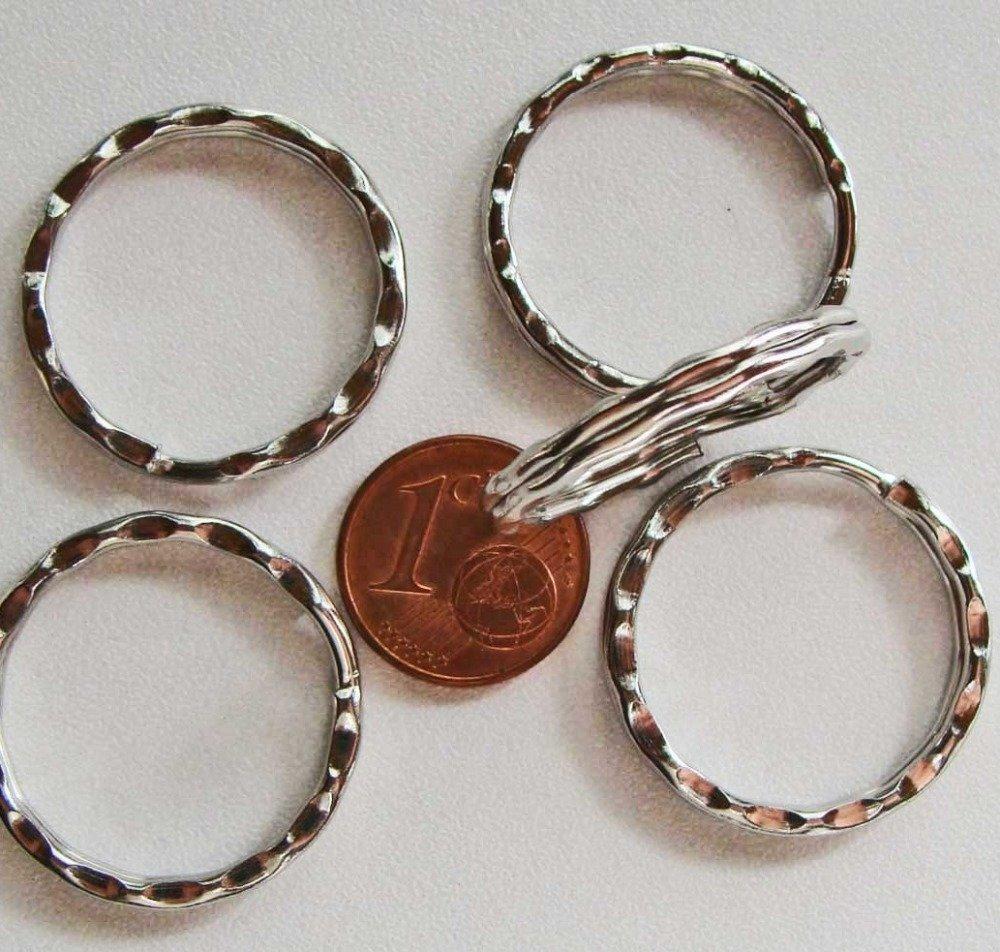 10 ANNEAUX PORTE-CLES métal Argenté vieilli 25mm