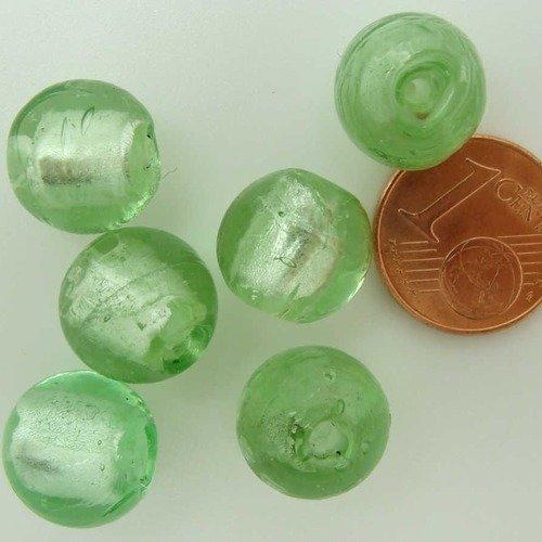6 perles rondes 12mm VIOLET style VERRE MURANO Feuille argentée création bijoux