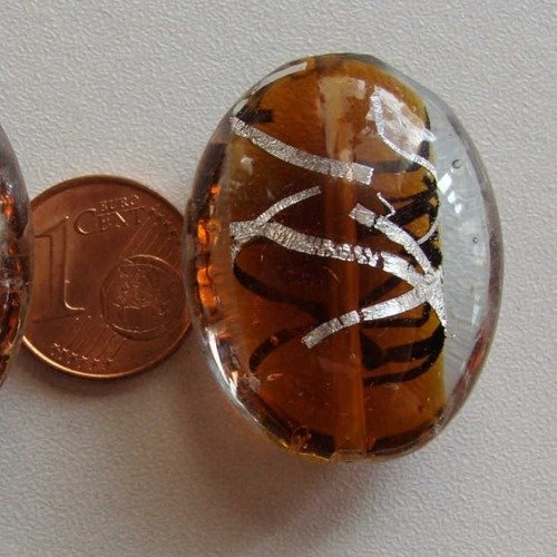 2 perles GALETS VERRE lampwork 30mm VERT touches DORE DIY création bijoux