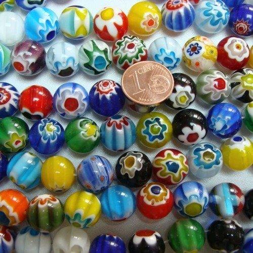 95 Perles 4mm verre style Millefiori Fleurs mix couleurs DIY création bijoux